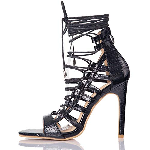 JSUN7 Gladiator Stiletto Sandals for Women Girls Black Glossy PU Lace Up High Heel Sandals Ankle Strappy Women Shoes