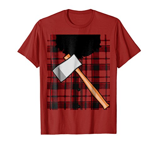 Mens Lumberjack Costume Tee Shirt with beard and ax Large Cranberry -