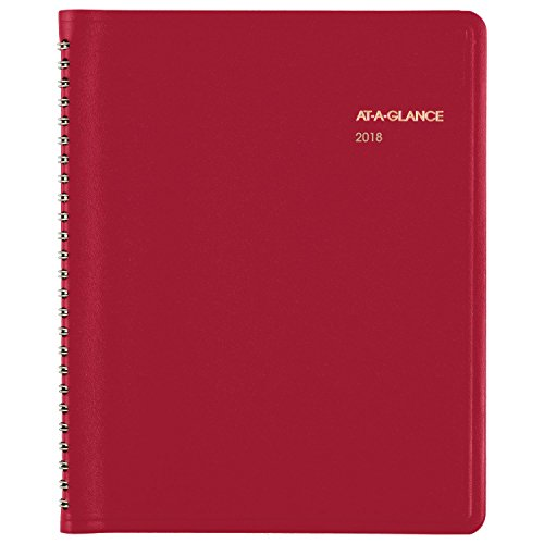 "AT-A-GLANCE Monthly Planner, January 2018 - December 2018, 6-7/8"" x 8-3/4"", Fashion, Red (7012413)"