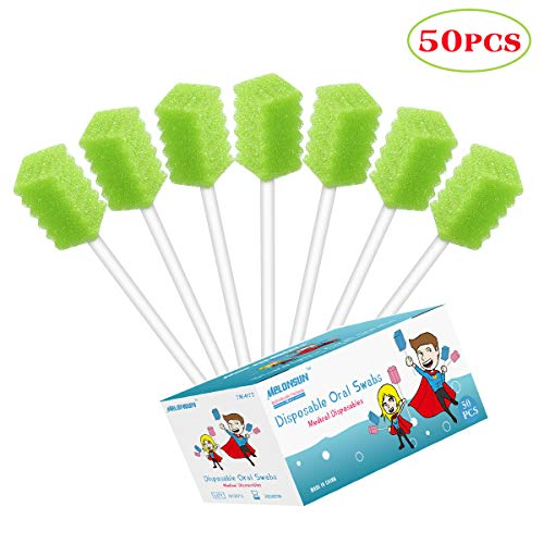 50PCS Disposable Oral Care Swabs, Individually Wrapped MELONSUN Dental Sponge Swabsticks Unflavored Sterile for Mouth Cleaning (people and pets) (ridge, - Oral Swab Mint