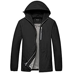 Wantdo Men's Packable Hooded Windbreaker Solid Color Skin Shell Jacket with UV Protect US Large Black