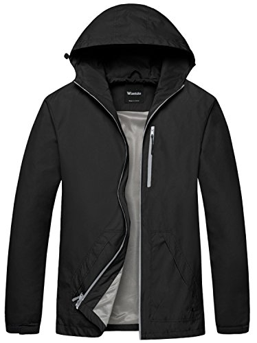 Wantdo Men's Packable Hooded Windbreaker Solid...