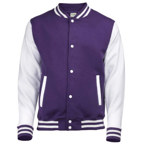 Kid's Varsity Jacket COLOUR Purple/White SIZE 12 TO 13