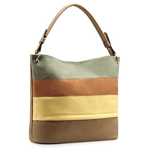 Plambag Multi Color Stripped Handbag for Women, Faux Leather Shoulder Tote Bag