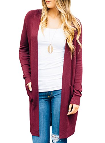 ZESICA Women's Open Front Long Sleeve Lightweight Knitted Sweater Cardigan With (Fine Cotton Long Sleeve Cardigan Sweater)