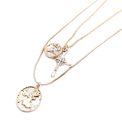 Zaoming 18K Gold Plated Cross Christian Jewelry Two Vintage Round Coin Personality Pendant Necklace Jewelry (Gold Style)