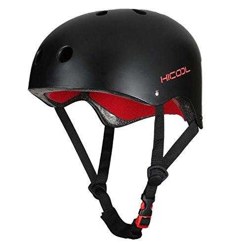 Hicool Helm Skaterhelm Fahrradhelm BMX-Helm Inliner-Helm für Skater Skateboard Outdoor Sports-Schwarz