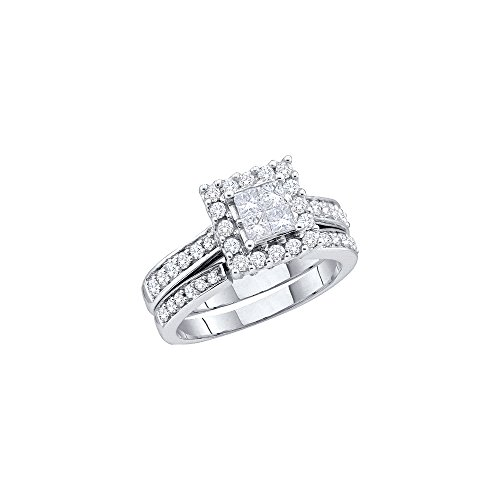 14kt White Gold Womens Princess Diamond Halo Bridal Wedding Engagement Ring Band Set 1-1/2 Cttw by JawaFashion