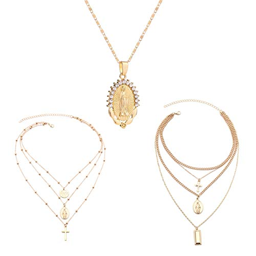 AOASK Women 3 PCS Layered Crystal Rhinestone Virgin Mary Pendant Necklace Tag Coin Cross Crucifix Charm Jewelry Set Gold Retro Accessories Party Gifts