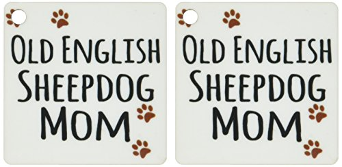 Sheepdog Dog Keychain - 3dRose Old English Sheepdog Mom - Sheep Dog - Doggie by breed - brown paw prints doggy lover - Key Chains, 2.25 x 2.25 inches, set of 2 (kc_154165_1)