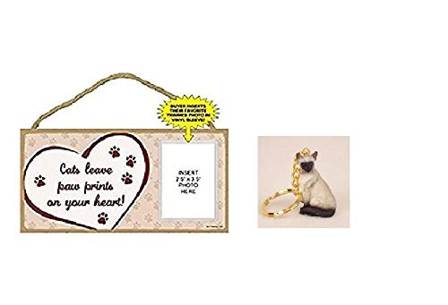 WaterCanyonBooks&Gifts Cats Leave Paw Prints On Your Heart! Wooden Plaque + Siamese Keychain Combo Cat Lover Gift