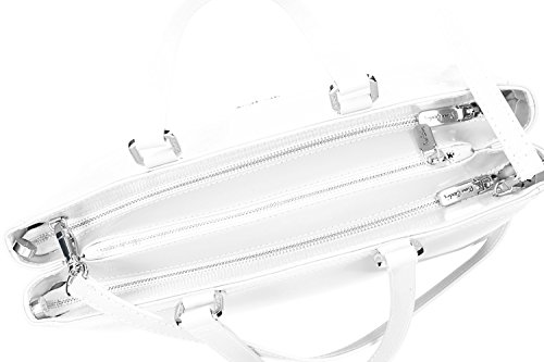 Borsa donna a mano con tracolla PIERRE CARDIN bianco pelle Made in Italy VN1445
