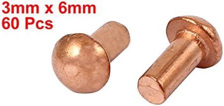 uxcell 銅ソリッドリベット 3mm x 6mm 円形ヘッド ゴールドトーン 60個入り