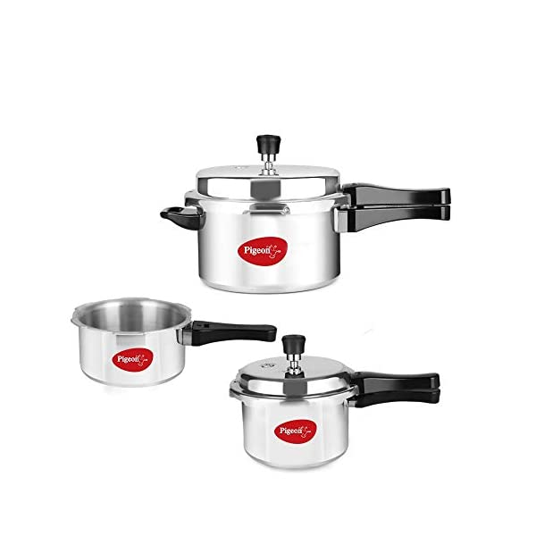 Pigeon by Stovekraft Aluminium Pressure Cooker Combo (12685) 2 litre, 3 litre, and 5 litre, Induction Base (Silver)