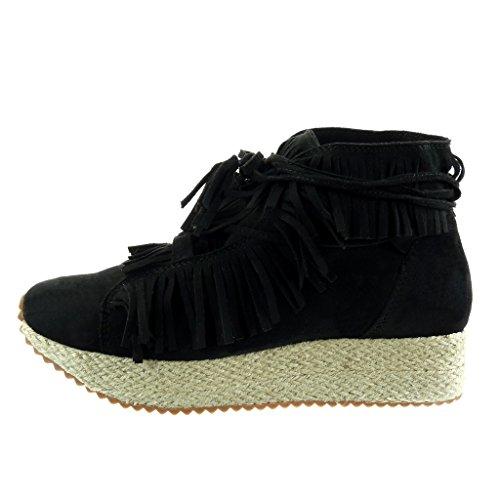 Angkorly zapatillas Zapatillas mujer Forrada fleco 3 Plataforma Deportivos Negro Piel de 5 Moda plantilla Talón tanga de cuerda suela de CM TYxY1drq0w