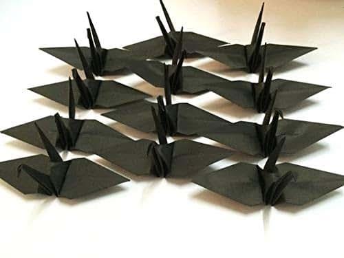 Amazon Com 100 Origami Paper Crane In Black 6 Quot Inch Handmade