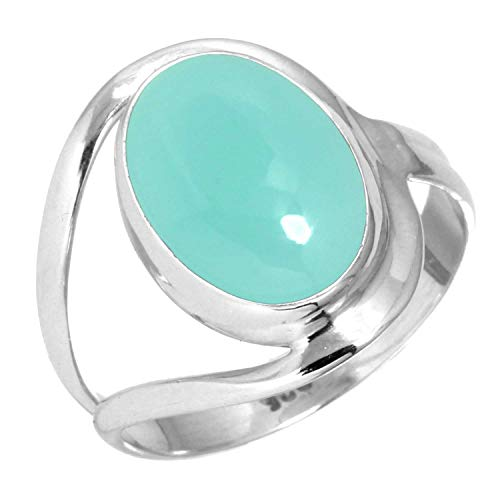 Natural Aqua Chalcedony Women Jewelry 925 Sterling Silver Ring Size 9.5
