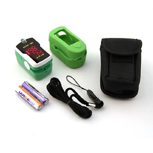 Concord Jade Green Fingertip Pulse Oximeter - Blood Oxygen Saturation Monitor with Silicon Cover, Batteries, Carrying Case & - Green Led Jade