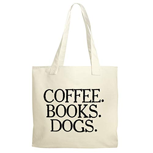Coffee Books Dogs Reusable Shopping Canvas Tote Bag