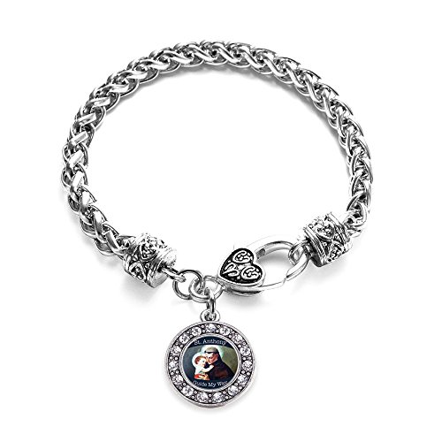 Inspired Silver St. Anthony Circle Charm Braided Bracelet Silver Plated with Crystal Rhinestones