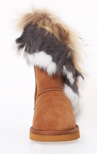 Warm Winter Sohle Damen SKUTARI Stabile Gefüttert Fell mit Schlupf Stiefel Schuhe Weiche Boots Wildleder qwA6Ev6I