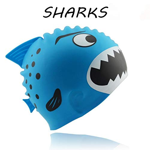 (topselect Kids Swim Caps for Kids, Children, Boys and Girls Aged 2-8, Baby Waterproof Bathing Caps for Long and Short Sharks & Minnows (Blue Sharks))