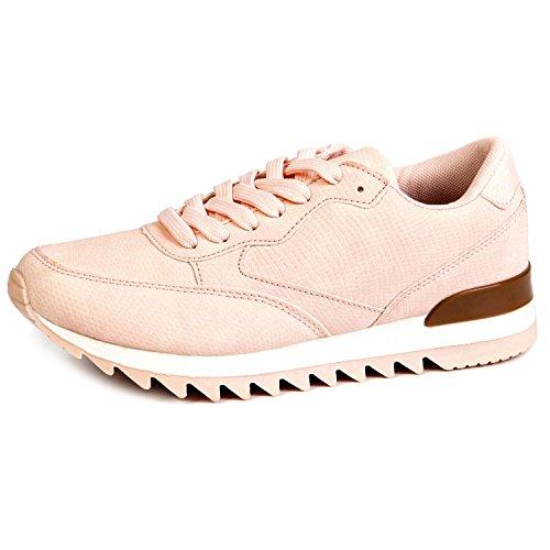 Agsdon Dames Sneakers Casual Mode Ademende Lichtgewicht Sportschoenen Roze-1