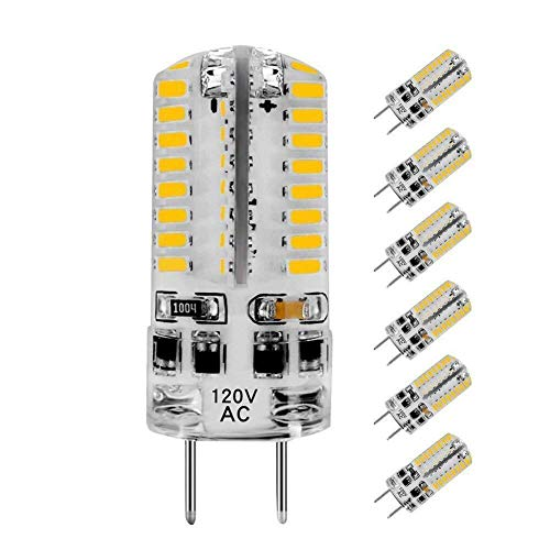 KINDEEP Dimmable G8 LED Bulb, 3W (20W-30W Equivalent), AC 110-130V, Warm White 3000K, 6 Pack for Under Cabinet Light ()