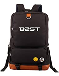 Beast Kpop B2st Accessories merchandise canvas backpack school bag Fanmade (Black)