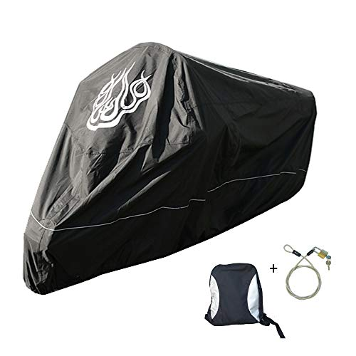 Premium Harley Davidson Motorcycle Cover, Cable and Lock, Flame Emblem