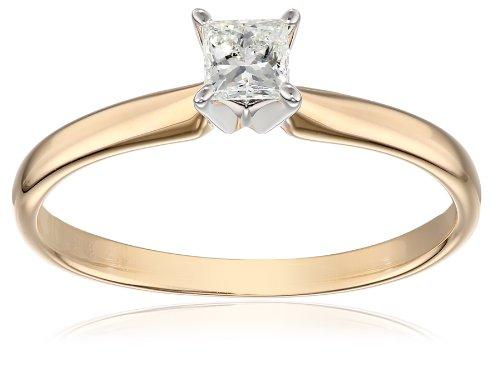 IGI Certified 14k Yellow Gold Classic Princess-Cut Diamon...