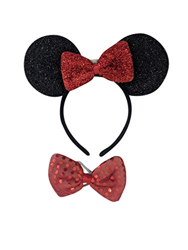 The Electric Mammoth Light Up LED Flashing Minnie Mouse Ears Headband & Bow Tie Combo (Black)