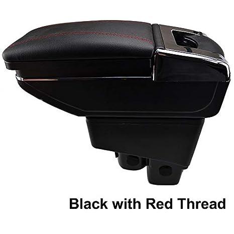 Ruotabile bracciolo per Fit Jazz 2002 - 2008 Hatchback nero filo contenitore bracciolo XUKEY