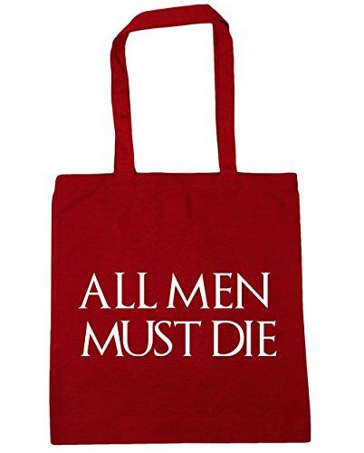 HippoWarehouse All men must die Einkaufstasche Fitnessstudio Strandtasche 42cm x38cm, 10 liter - Klassisch Rot, One size