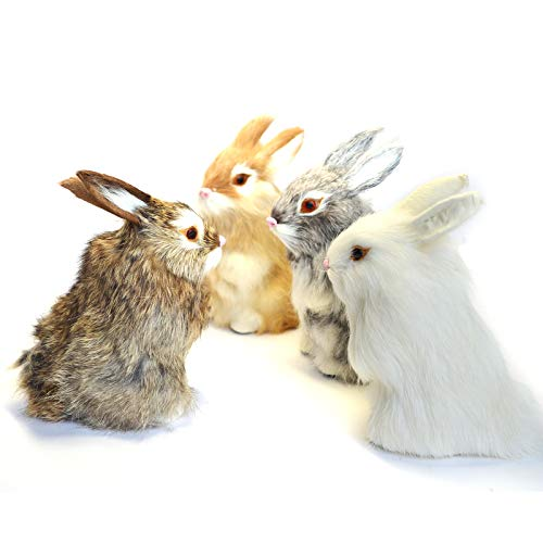 STP-US 4 x Realistic Mini Bunnies Lifelike Rabbits Plush Fur Animal Furry Easter Bunny Decoration Holiday Photo Props