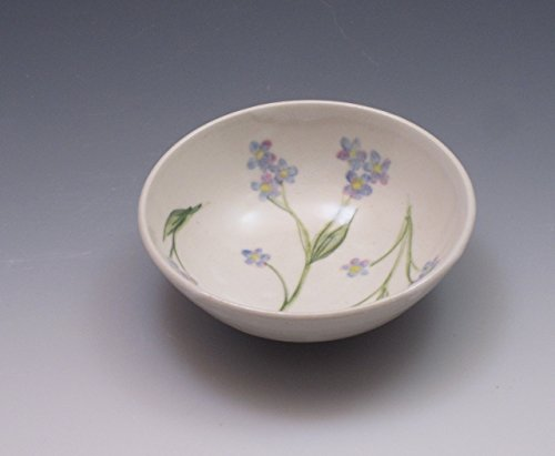 Not Porcelain - Handmade Small Porcelain Bowl, Hand Painted in Forget Me Not Flower Pattern