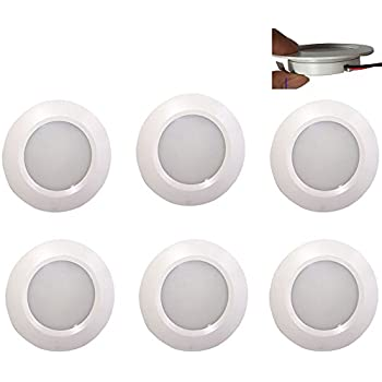 12v-LEDlight White Under Cabinet Lights - Aluminum Ceiling Light RV & Marine - Recessed Halogen Replacing Dome Light & Spotlight, 3w, Soft Warm White, Pack of 6 with Bonus