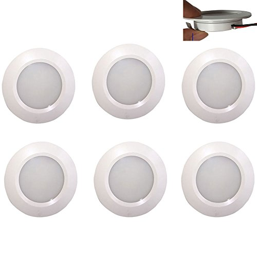 12v-LEDlight Marine White Recessed LED Ceiling Lights - Easy to Install (screw free) Cabinet Counter Lamp Campervan Trailer 5th Wheel RV Truck Car Bus, 3w, Bright Natural White, Pack of 6 with Bonus by 12v-ledlight