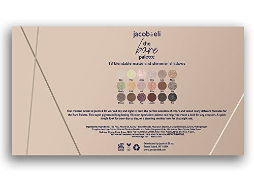 18 Super Pigmented - Top Influencer Professional Eyeshadow Palette all finishes, 5 Matte + 9 Shimmer + 4 Duochrome - Buttery Soft, Creamy Texture, Blendable, Long Lasting Stay (Bare) by Jacob & Eli (Image #5)
