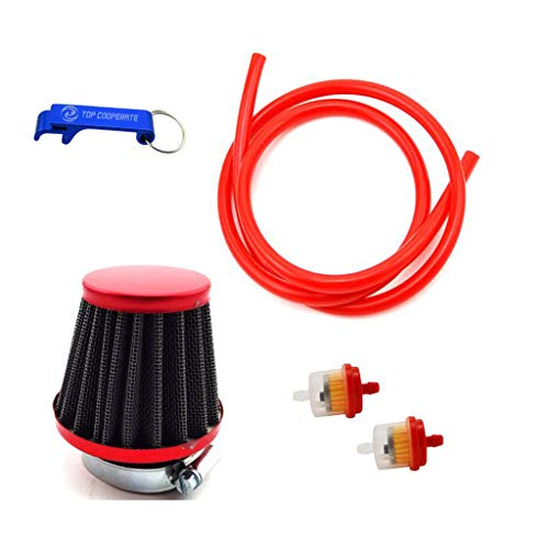 - TC-Motor Red 38mm Air Filter Fule Cleaner Gas Line Hose For 50cc 70cc 90cc 110cc 125cc Dirt Pit Bike ATV Quad Monkey Bike Motocross Motorcycle Go Kart Cart And GY6 50cc QMB139 Engine Scooter Moped