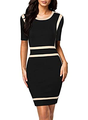 Miusol Women's Scoop Neck Optical Illusion Business Bodycon Dress