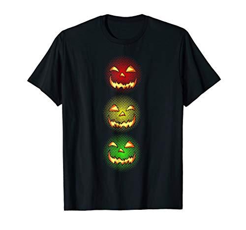 Pumpkin Face Stoplight Halloween Costume T-shirt Gift -