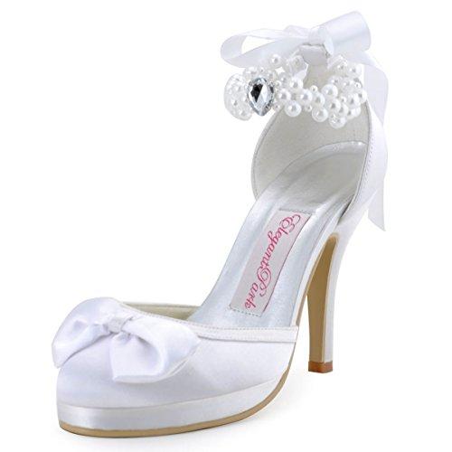 Platform Women Elegantpark Satin Wedding Bows Shoes White EP11074 Heel Ribbons Stiletto high PF Pearls BRxgSRqF4w