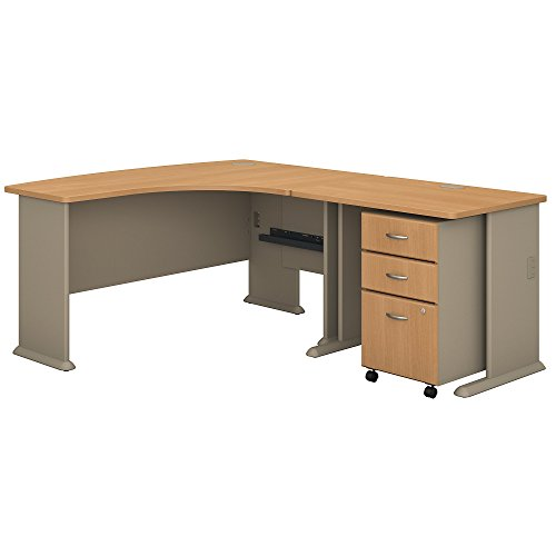 Bush Business Furniture Series A 60W Right Handed L Shaped Desk with 36W Return and Mobile File Cabinet in Light Oak and Sage ()