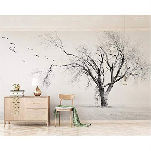 (Pbldb 3D Wallpaper Black and White Tree Bird Artistic Concept Nordic Living Room Tv Backdrop Wall 3D Wallpaper-200X140Cm)