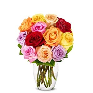 Flowers – One Dozen Rainbow Roses (Free Vase Included)