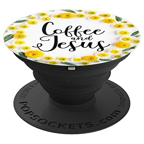 Coffee & Jesus & Flowers on Black Base PDTF0008 - PopSockets Grip and Stand for Phones and -