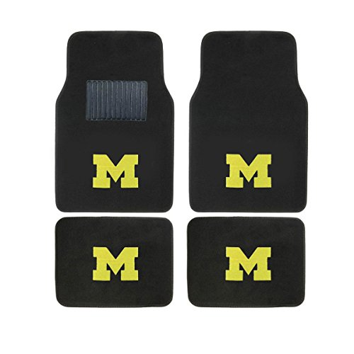 Collegiate Michigan New Carpet Type Floor Mat Liner. Wow! Michigan Logo On All 4 (Michigan Floor)