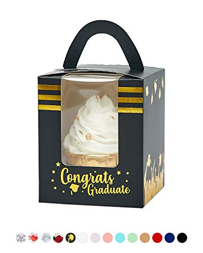 Yotruth Graduation Cupcake Boxes with Academic Hats Tassels Cap for School Graduation Favor 25 Sets (Choice Series)]()