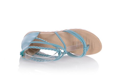 AmoonyFashion Womens Open Toe Low Heel Soft Material PU Solid Thong Sandals with Zippers Blue NG3TUwOx